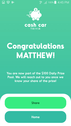 Cash Car Trivia Won