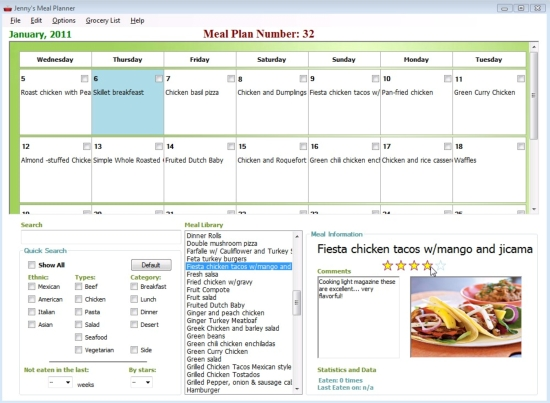 Meal Planner Main Page